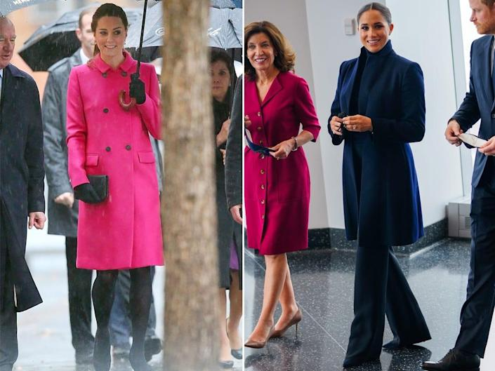 A side-by-side of Kate Middleton and Meghan Markle wearing coats.