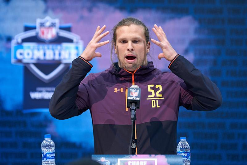 Michigan edge rusher Chase Winovich answers questions during the NFL Scouting Combine (Getty Images)