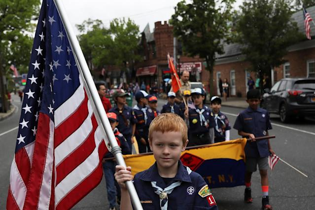 <p>Members of the Boy Scouts of America march during a Memorial Day parade in Manhasset, New York, U.S. May 29, 2017. (Photo: Shannon Stapleton/Reuters) </p>