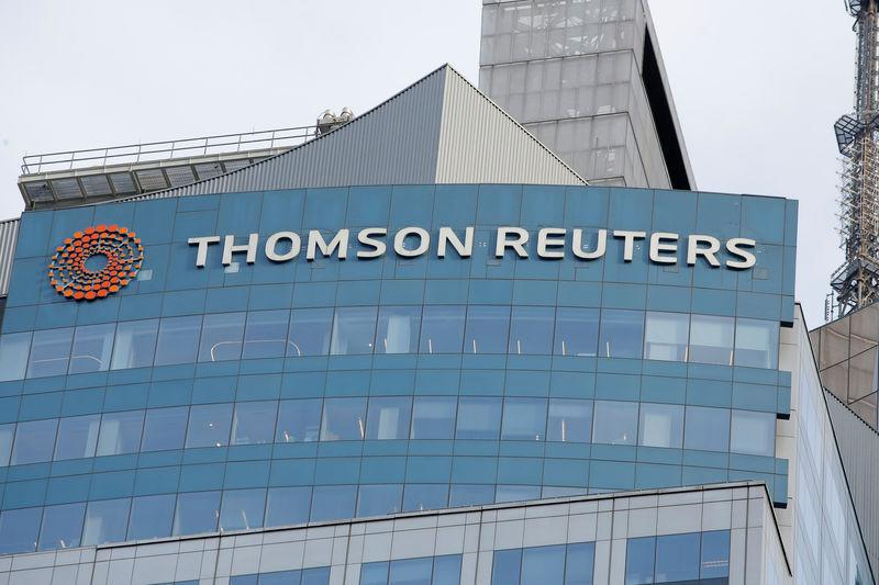 FILE PHOTO: The Thomson Reuters logo is seen on the company building in Times Square, New York.