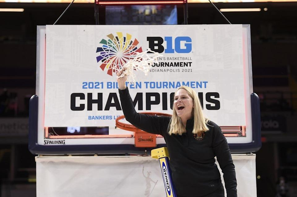 After Maryland coach Brenda Frese cut down the net at the Big Ten tournament, she draped it around her father's neck.