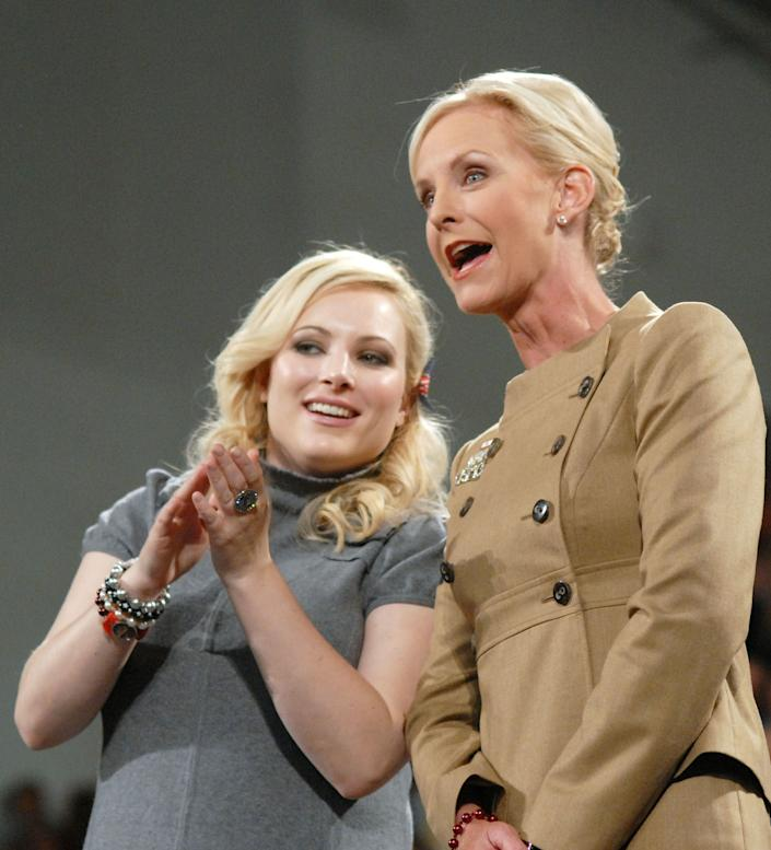 BETHLEHEM, PA - OCTOBER 8: Cindy McCain (R), wife of Republican Presidential candidate U.S. Sen. John McCain (R-AZ), and her daughter Meghan McCain stand on stage during a campaign stop on the campus of Lehigh University October 8, 2008 in Bethlehem, Pennsylvania. Hundreds of supporters attended the event.(Photo by William Thomas Cain/Getty Images)