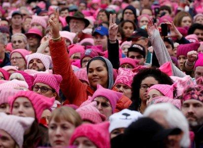 People gather for the Women's March in Washington, January 21, 2017. REUTERS/Shannon Stapleton