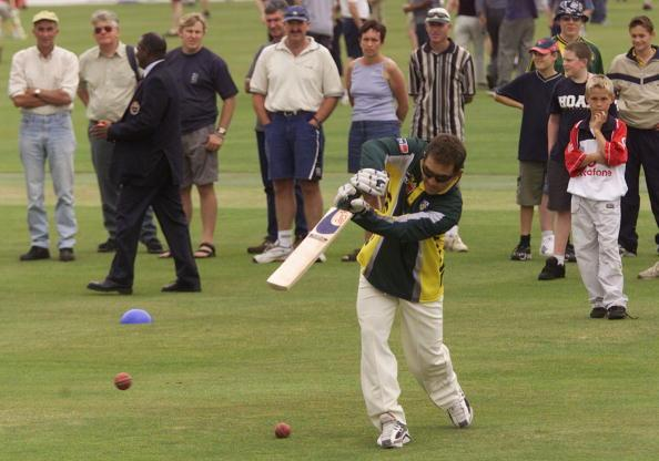 1 Jul 2001:  Justin Langer of Australia bats on the field during the tea interval under the watch of spectators, during day three of the tour match between Essex and Australia, played at the County Ground, Chelmsford, England.  DIGITAL IMAGE Mandatory Credit: Hamish Blair/ALLSPORT
