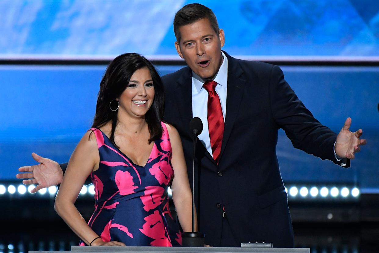 Rep. Sean Duffy, R-WI, and Rachel Duffy, speak on stage at the Republican National Convention Monday night.