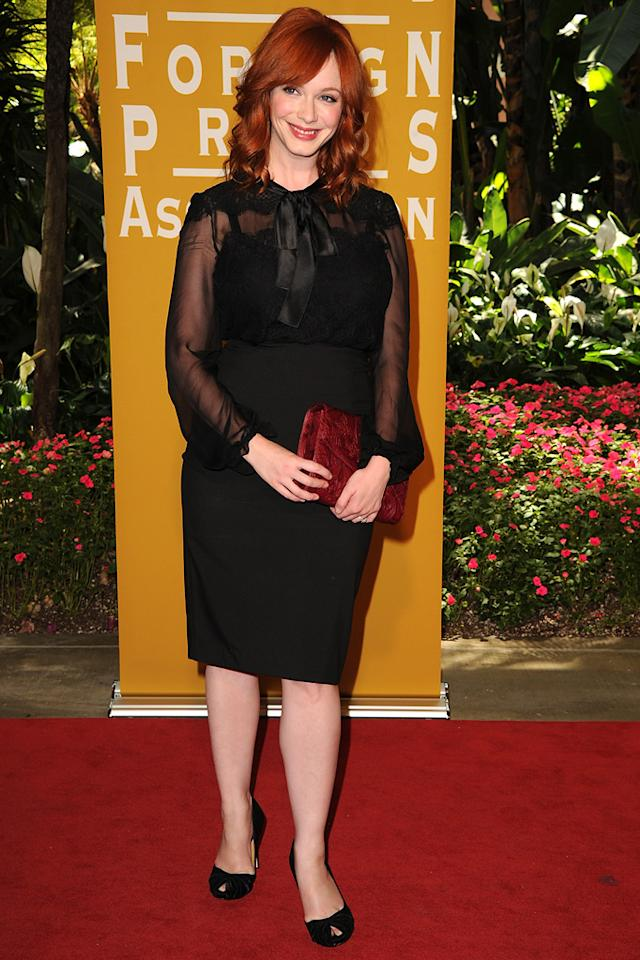 Christina Hendricks arrives at the Hollywood Foreign Press Association's 2012 Luncheon held at the Beverly Hill Hotel on August 9, 2012.