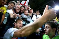 <p>Those fans in the stadium got the chance to celebrate with the players, including Harry Kane, as the team looked ahead to the match against Sweden. (Picture: PA) </p>