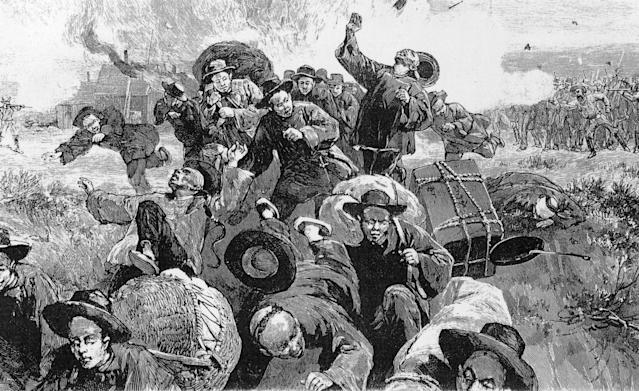 <p>A mob of white coal miners attacking Chinese immigrants who worked during a strike at the mines in Rock Springs, Wyo., 1885. (Photo by MPI/Getty Images) </p>