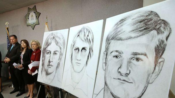 In this June 15, 2016 photo law enforcement drawings of a suspected serial killer believed to have committed at least 12 murders across California in the 1970's and 1980's are displayed at a news conference in Sacramento, Calif. (Rich Pedroncelli/AP, FILE)