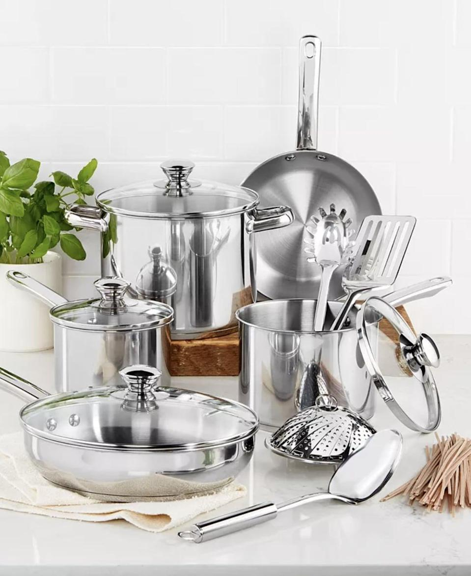 <p><span>Tools of the Trade Stainless Steel 13-Pc. Cookware Set</span> ($51, originally $120 (with code FOURTH))</p>