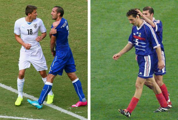 Giorgio Chiellini shows Luis Suarez's bitemarks and Laurent Blanc trudges off after his semi-final red