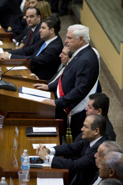 Panama's President Ricardo Martinelli delivers the last state-of-the nation address of his term to Congress in Panama City, Thursday, Jan. 2, 2014. Panama will hold their next presidential election this year in May. (AP Photo/Arnulfo Franco)