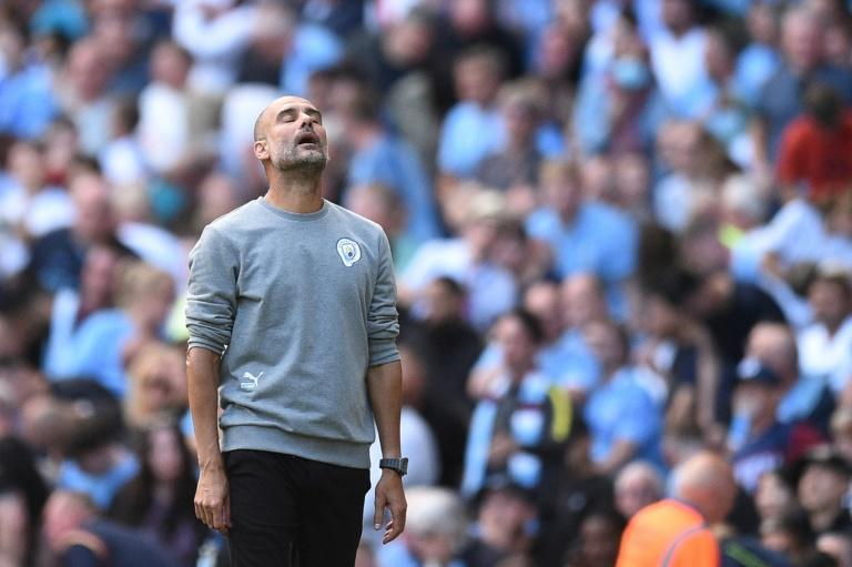 Support: Manchester City coach Pep Guardiola during the 0-0 draw at home to Southampton (AFP/Oli SCARFF)
