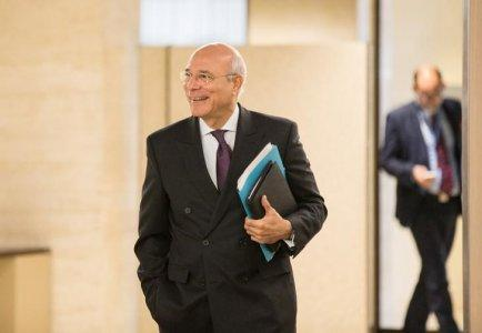 FILE PHOTO: Deputy UN Special Envoy for Syria Ramzy Ezzeldin Ramzy arrives for a meeting with Syrian government delegation prior to a round of negotiation, during the Intra Syria talks, at the European headquarters of the United Nations in Geneva, Switzerland December 12, 2017 REUTERS/Xu Jinquan/Pool