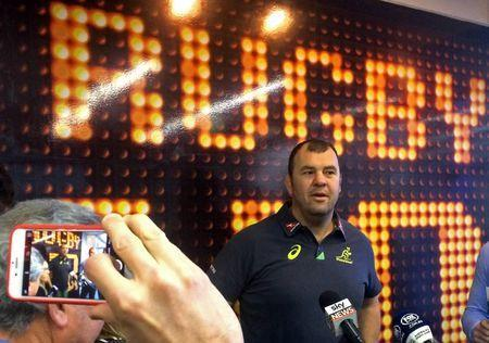 FILE PHOTO: Australian Wallabies coach Michael Cheika prepares to speak to the media after naming a 39-man training squad for the three tests against England at the Australian Rugby Union headquarters in Sydney, Australia, May 26, 2016. REUTERS/Nick Mulvenney