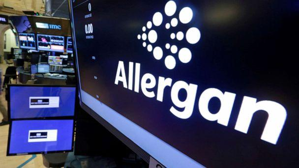 PHOTO: In this Nov. 23, 2015, file photo, the Allergan logo appears on the floor of the New York Stock Exchange. On July 24, 2019, the medical device maker announced a worldwide recall of its Biocell breast implants, linked to a rare form of cancer. (Richard Drew/AP, FILE)