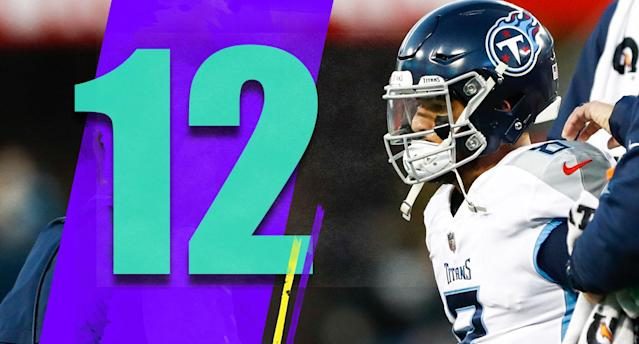 <p>We can't really trust Marcus Mariota to get through Sunday night's game healthy, can we? Even after suffering a stinger last week? The Titans are in a tough spot, figuring out what to do with a quarterback who hasn't been great yet and can't stay healthy. (Marcus Mariota) </p>