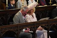 <p>The Duchess of Cornwall wears a dress by Anna Valentine, shoes by L.K. Bennet and a Philip Treacy hat. [Photo: Getty] </p>
