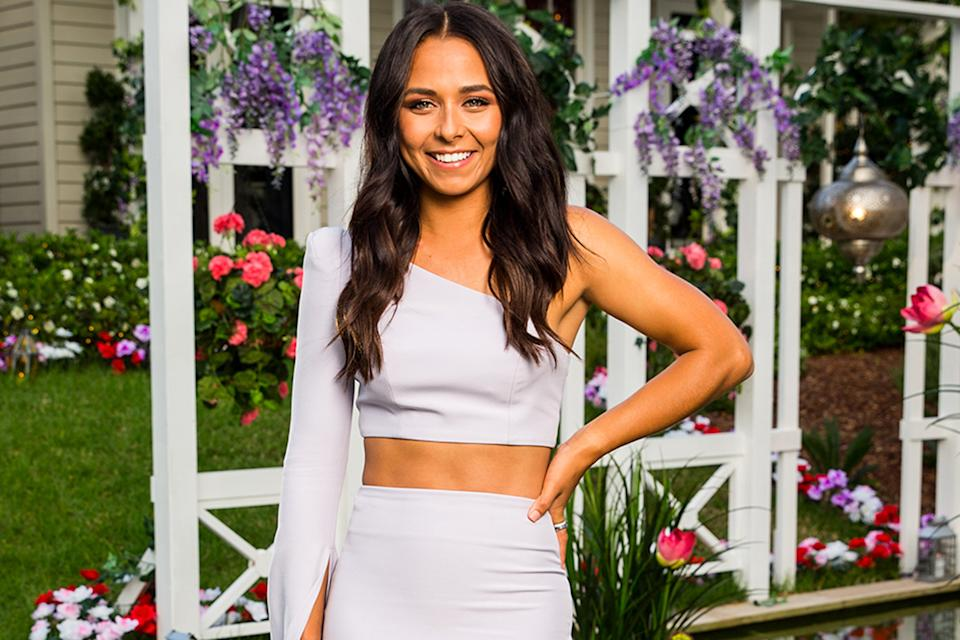 bachelor brooke blurton in a white crop top and skirt