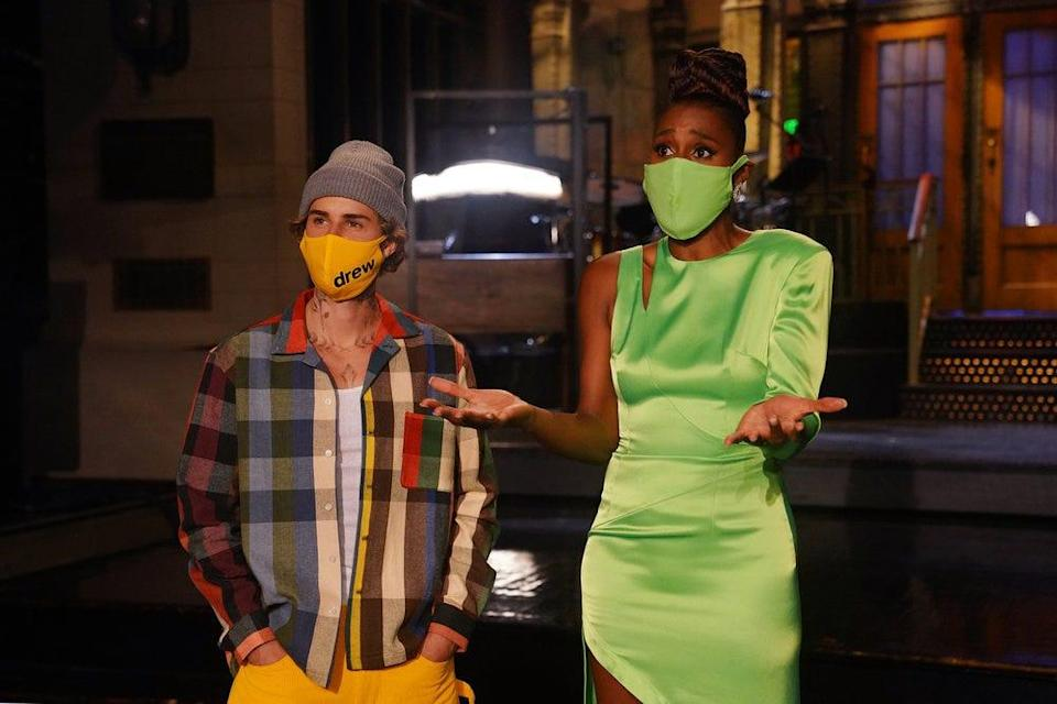 """""""Saturday Night Live"""" musical guest Justin Bieber and host Issa Rae shoot promos for the show in Studio 8H on Oct. 15, 2020"""