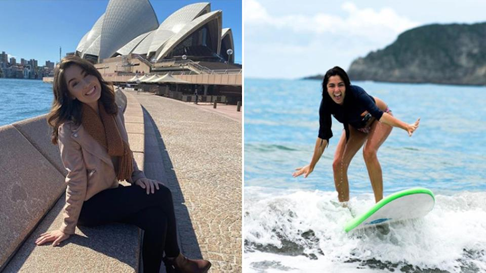 Kaymie Wuerfel in front the Sydney Opera House on the left. The photo on the right-hand side shows her surfing.