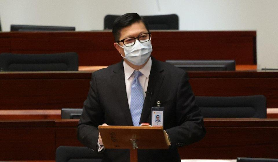 Secretary for Security Chris Tang attends a Legislative Council session on Wednesday. Photo: May Tse