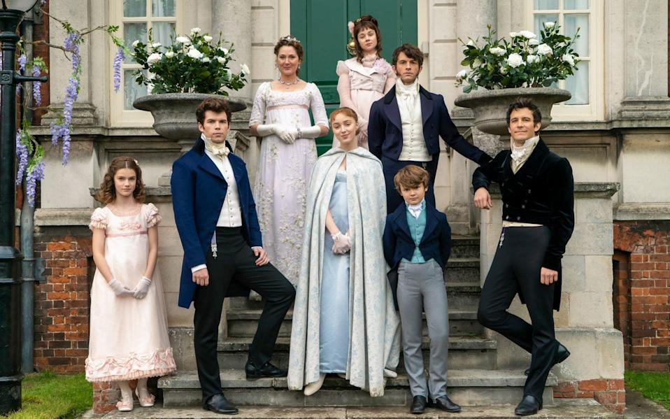 The Bridgerton family (with Jonathan Bailey as eldest child Anthony, second from the right) - Liam Daniel/Netflix