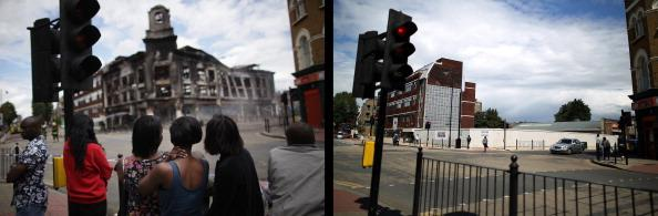 In this composite image (Left Photo) Residents watch as a building burns after riots on Tottenham High Road on August 7, 2011 in London, England. (Right Photo) The scene on Tottenham High Road, one year on from the riots. August 6th marks the one year anniversary of the England riots, over the course of four days several London boroughs, and districts of cities and towns around England suffered widespread rioting, looting and arson as thousands took to the streets. (Dan Kitwood/Peter Macdiarmid/Getty Images)