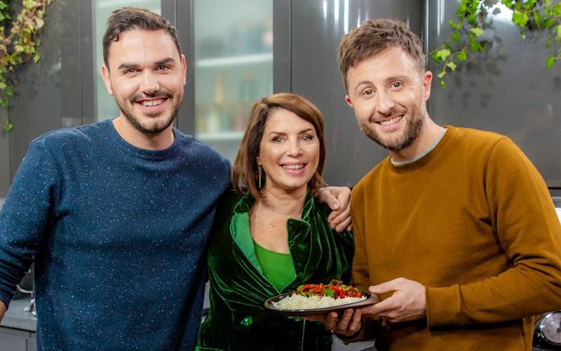 Henry Firth, Sadie Frost and Ian Theasby in ITV'sLiving on the Veg