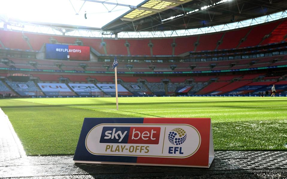 General view inside the stadium with the EFL play-offs board ahead of the Sky Bet Championship Play Off Final match between Brentford and Fulham at Wembley Stadium -  Football League clubs left 'in limbo' with end of furlough scheme as potential job-cutting talks begin - GETTY IMAGES