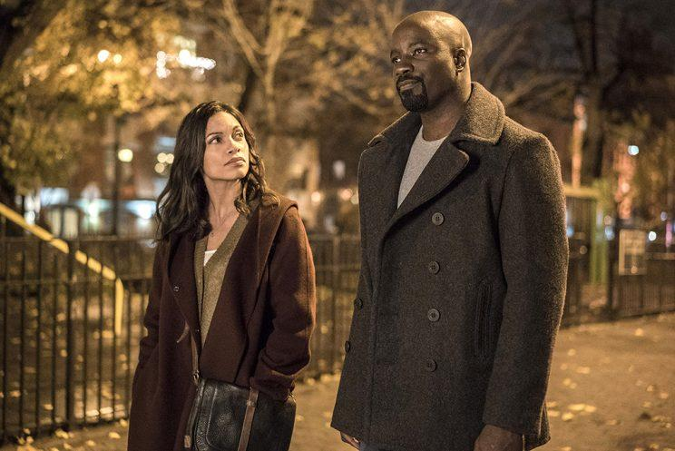 Rosario Dawson and Mike Colter as Claire Temple and Luke Cage (Credit: Myles Aronowitz/Netflix)