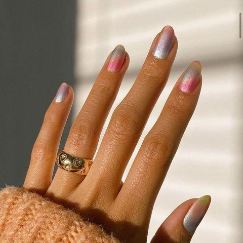 """<p>Give your ombre an other-worldly sheen with a hit of metallic.</p><p><a href=""""https://www.instagram.com/p/CJv03-lD3ES/"""" rel=""""nofollow noopener"""" target=""""_blank"""" data-ylk=""""slk:See the original post on Instagram"""" class=""""link rapid-noclick-resp"""">See the original post on Instagram</a></p>"""
