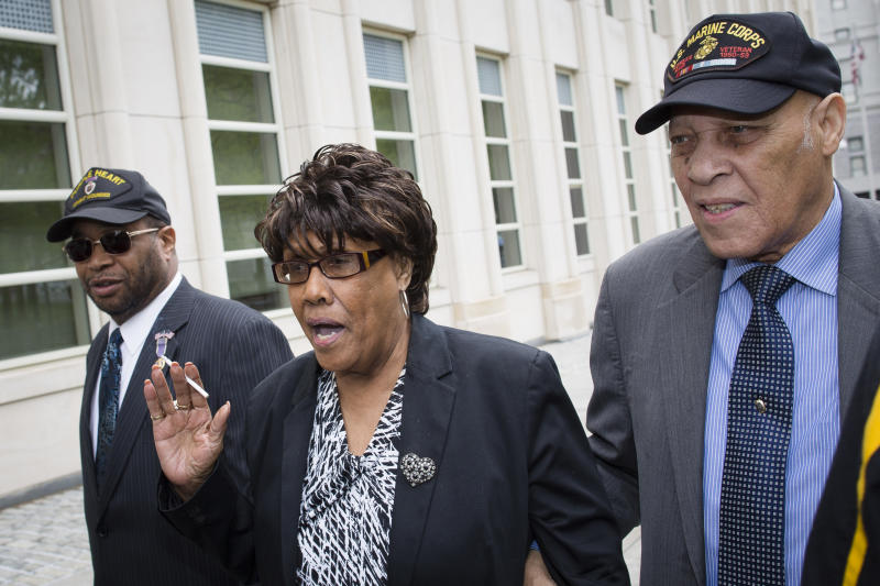 Former New York state senator Shirley Huntley arrives at Brooklyn federal court for sentencing after pleading guilty to embezzlement charges, Thursday, May 9, 2013, in New York. The 74-year-old secretly recorded other politicians in a bid for leniency for her role in a corruption scandal and faces up to two years in prison. (AP Photo/John Minchillo)