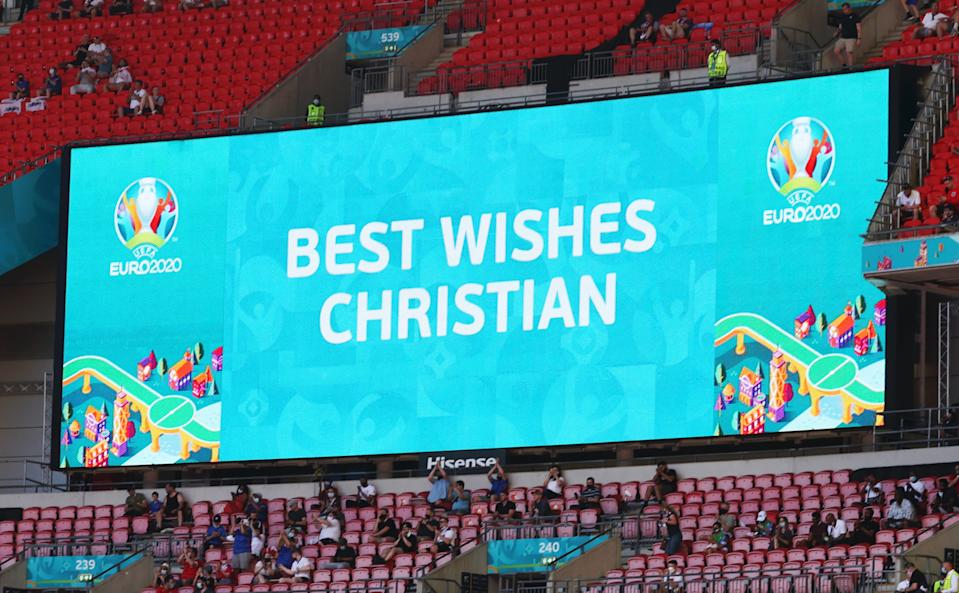 LONDON, ENGLAND - JUNE 13: A detailed view of the LED screen inside the stadium which shows a message of support for Christian Eriksen of Denmark (not pictured) prior to the UEFA Euro 2020 Championship Group D match between England and Croatia at Wembley Stadium on June 13, 2021 in London, England. (Photo by Catherine Ivill/Getty Images)
