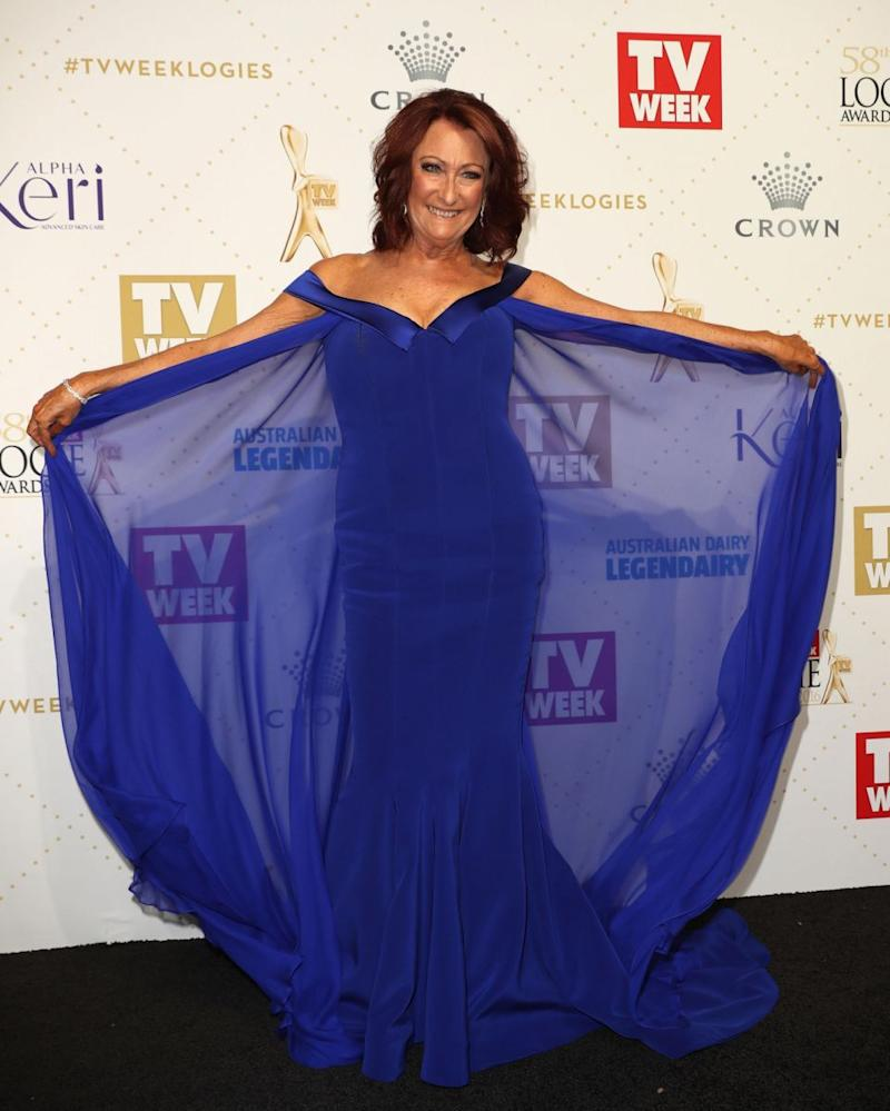Lynne McGranger is swapping her thongs for some gloves as she is set to temporarily depart Home and Away. She is pictured here looking stunning at the 2016 Logie Awards. Source: Getty