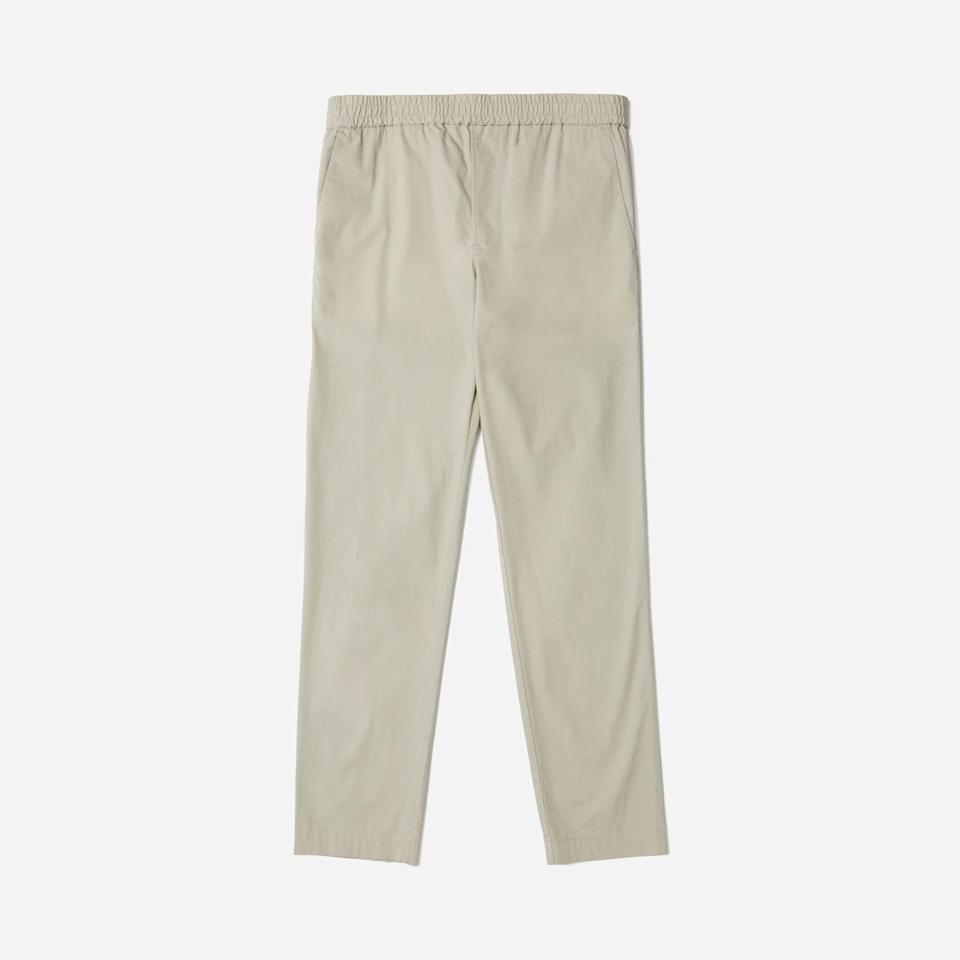 """<p><strong>Everlane</strong></p><p>everlane.com</p><p><strong>$58.00</strong></p><p><a href=""""https://go.redirectingat.com?id=74968X1596630&url=https%3A%2F%2Fwww.everlane.com%2Fproducts%2Fmens-air-chino-drawstring-pant-stone&sref=https%3A%2F%2Fwww.esquire.com%2Fstyle%2Fmens-fashion%2Fg34578546%2Fdrawstring-pants-for-men%2F"""" rel=""""nofollow noopener"""" target=""""_blank"""" data-ylk=""""slk:Buy"""" class=""""link rapid-noclick-resp"""">Buy</a></p>"""