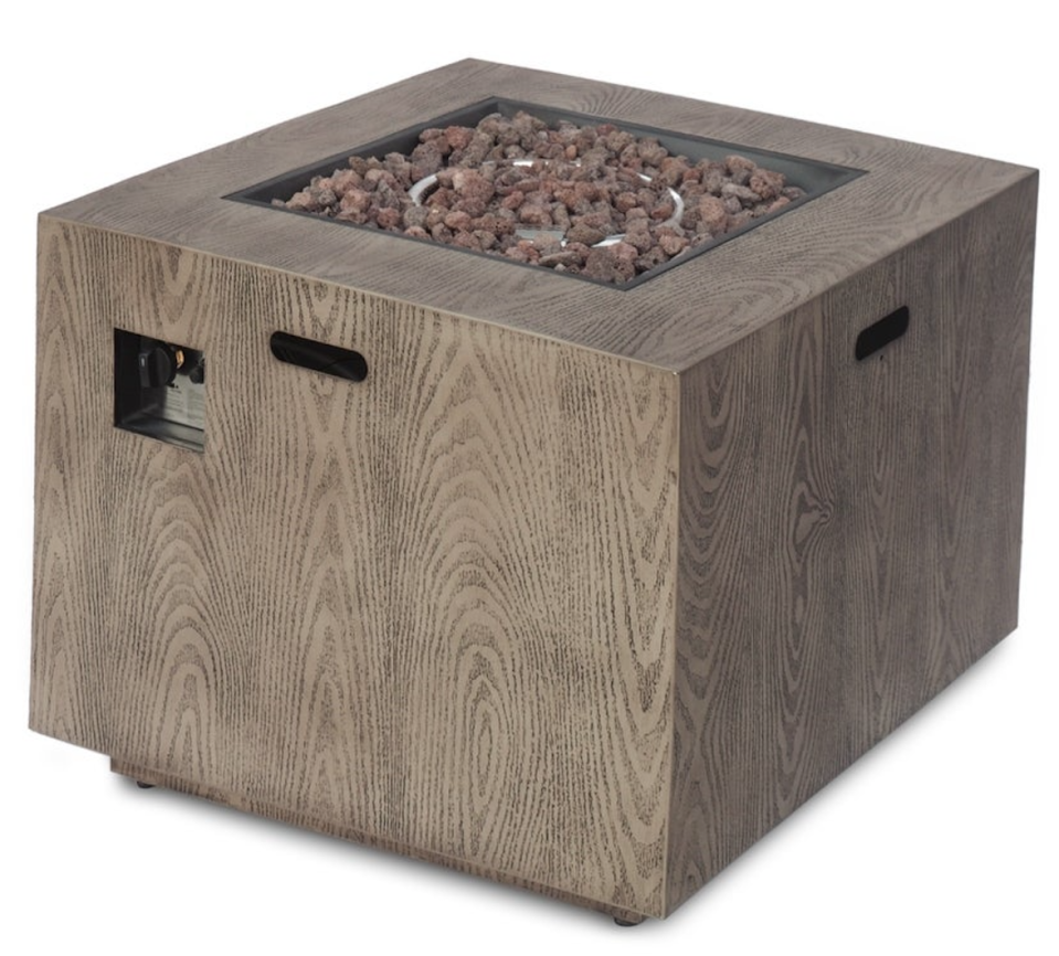 """Wellington Outdoor 33"""" Square Firepit with Lava Rocks (Photo: Overstock)"""