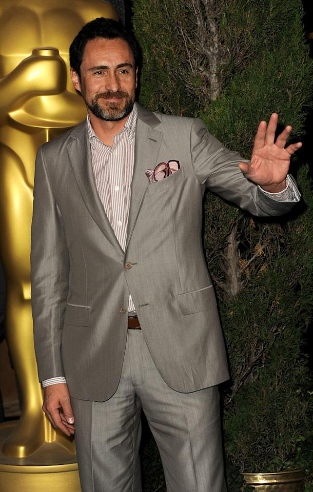 """Mexican actor Demian Bichir -- who delivered a breakthrough performance in """"A Better Life"""" -- sported a sharkskin suit and striped shirt."""