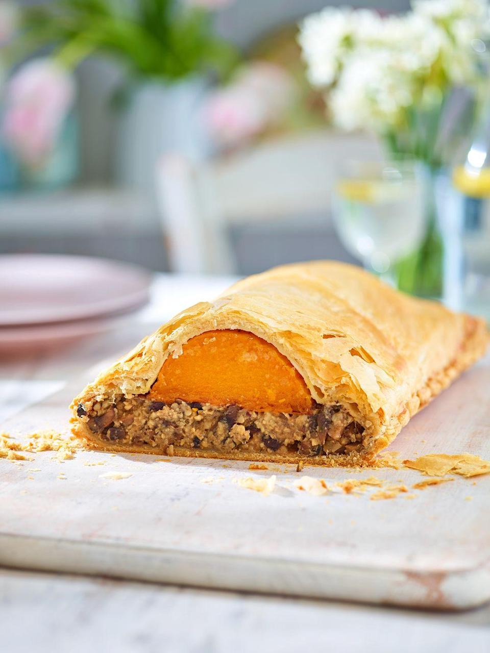 "<p>The miso might sound out of place in this vegan wellington, but it adds a delicious savoury flavour that really boosts the mushrooms.</p><p><strong>Recipe: <a href=""https://www.goodhousekeeping.com/uk/food/recipes/a27126174/vegan-wellington/"" rel=""nofollow noopener"" target=""_blank"" data-ylk=""slk:Butternut and mushroom wellington"" class=""link rapid-noclick-resp"">Butternut and mushroom wellington</a></strong></p>"
