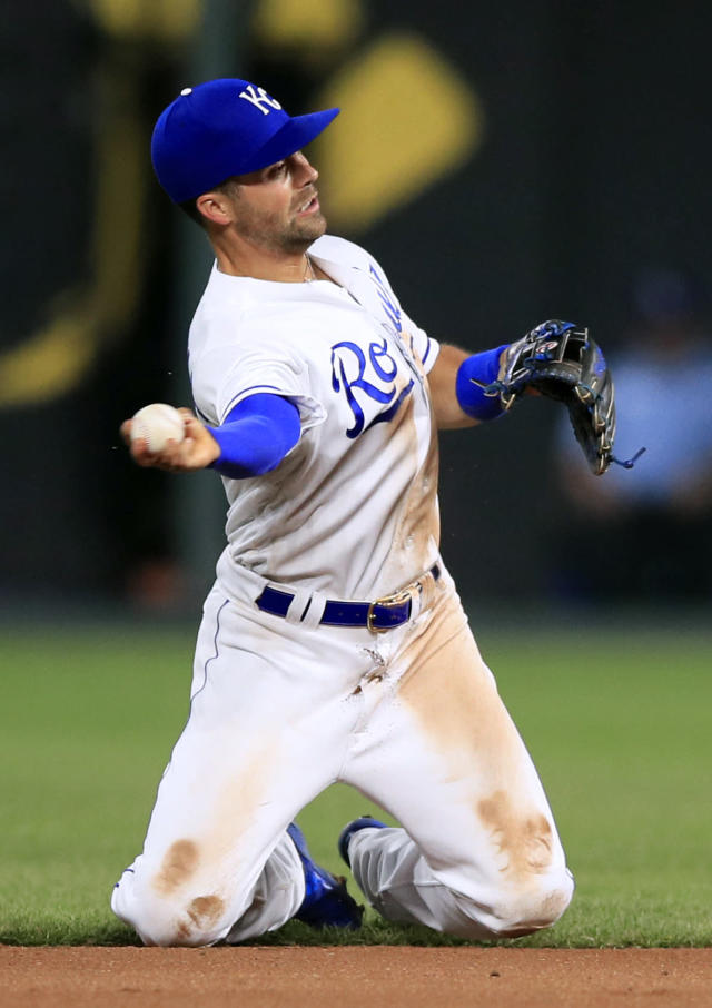 Kansas City Royals second baseman Whit Merrifield throws out Detroit Tigers' Ronny Rodriguez during the seventh inning of a baseball game at Kauffman Stadium in Kansas City, Mo., Wednesday, June 12, 2019. (AP Photo/Orlin Wagner)