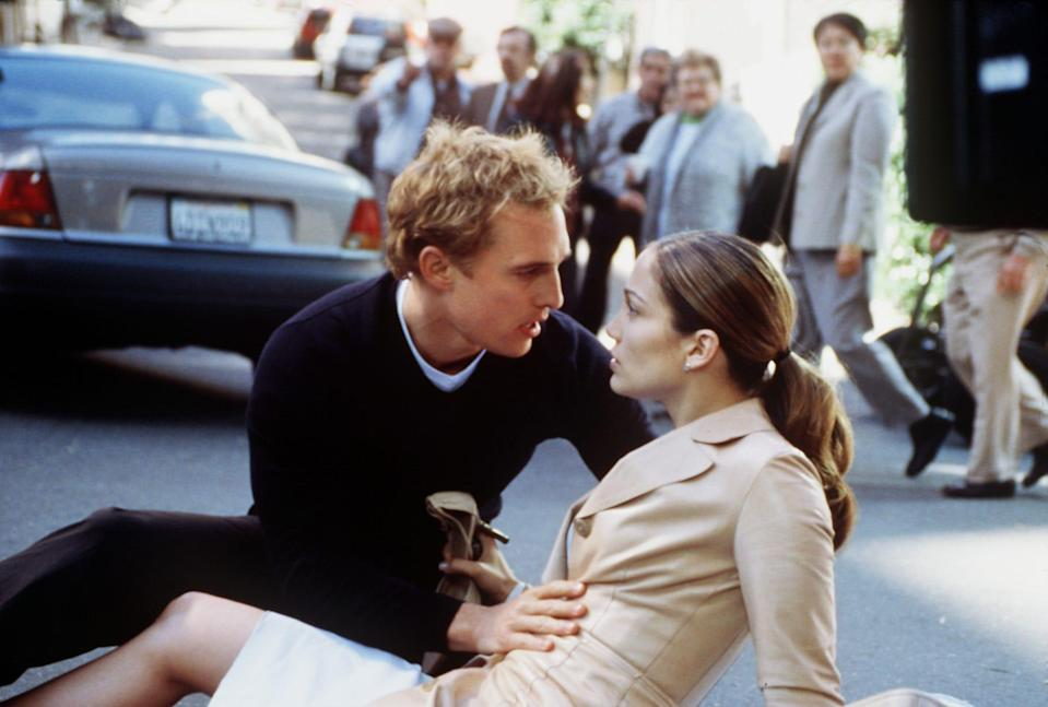 """Matthew McConaughey and Jennifer Lopez have a meet-cute over a dumpster incident in the romantic comedy """"The Wedding Planner."""""""