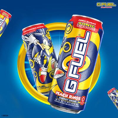 G FUEL, The Official Energy Drink of Esports®, is teaming up with SEGA® of America, Inc. to launch a new kind of power-up for Sonic fans: Sonic's Peach Rings — available to purchase for U.S. customers in 16 oz G FUEL Cans at gfuel.com on August 12, 2020.