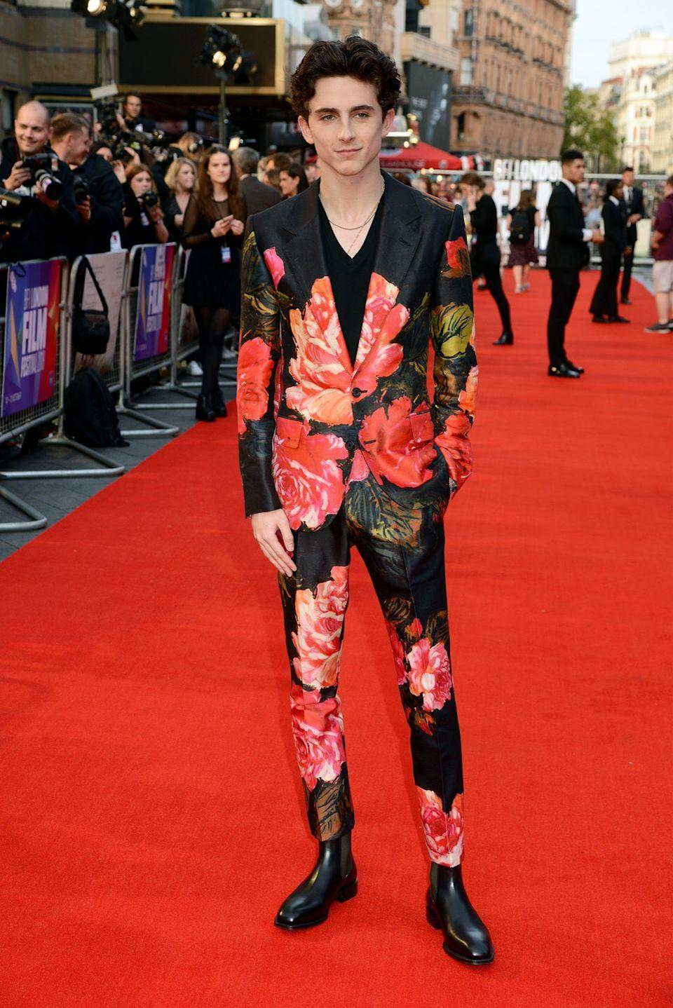 <p>Searing florals are an Alexander McQueen signature, and Chalamet is the best sort of scribe. It's the usual two-piece made unusual. It's red carpet appropriate but not standard fodder. It's Chalamet just doing what he always does, to be honest – and it works.</p>