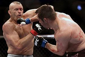 Chuck Liddell (left) was stopped by Rich Franklin on Saturday with five seconds left in the first round of their UFC 115 bout