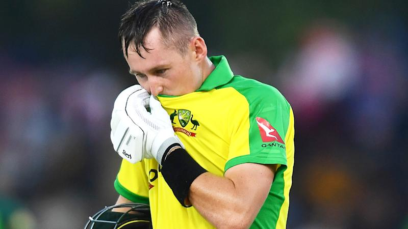 Marnus Labuschagne, pictured leaving the ground after losing his wicket, scored 41 in a losing effort for Australia.