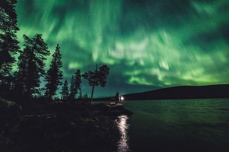 FILE PHOTO: The Aurora Borealis (Northern Lights) is seen in the sky in Ivalo of Lapland