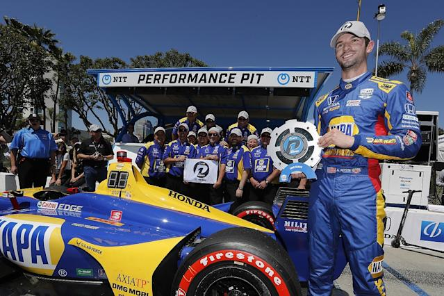 Rossi on Long Beach pole for second straight year