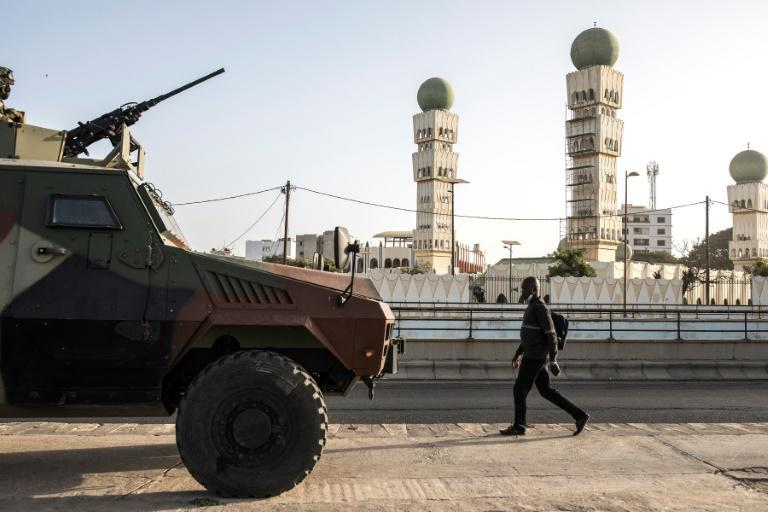Armoured vehicles topped with machine guns were stationed in areas in Dakar where recent clashes took place