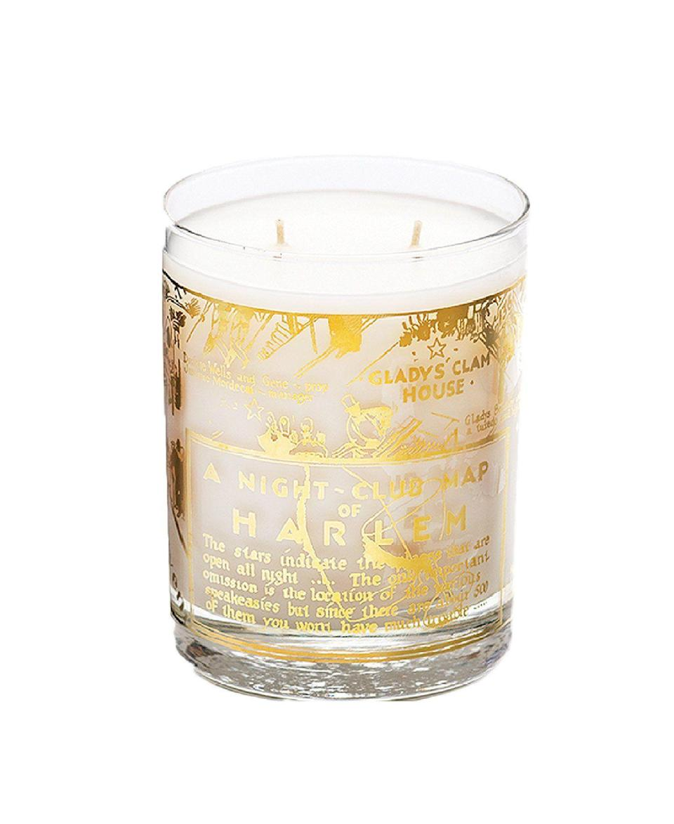 "<p><strong>Harlem Candle Co. </strong></p><p><strong>$60.00</strong></p><p><a href=""https://www.harlemcandlecompany.com/collections/entire-collection/products/22k-gold-harlem-nightclub-map-savoy-luxury-candle-large-12-oz"" rel=""nofollow noopener"" target=""_blank"" data-ylk=""slk:SHOP IT"" class=""link rapid-noclick-resp"">SHOP IT</a></p><p>After you're finished lighting up Harlem Candle Co.'s limited-edition ""A Night-Club Map of Harlem"" candle—a blend of mandarin, jasmine petals, sandalwood, and more—transform it into a cocktail glass for your next virtual happy hour.</p>"