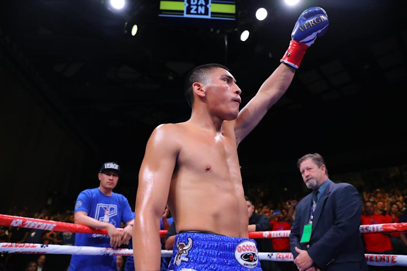 GRAND PRAIRIE, TX - AUGUST 10: Vergil Ortiz Jr. enters the arena for his fight against Antonio Orozco at The Theatre at Grand Prairie on August 10, 2019 in Grand Prairie, Texas. (Photo By Tom Hogan/Golden Boy/Getty Images)